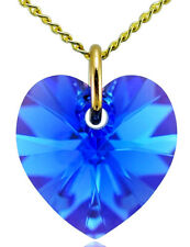 September Birthstone Necklace Sapphire 9ct Gold Heart with Swarovski® Crystal