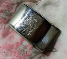 ANCIENNE BOUCLE DE CEINTURE métal chromé chien chasse canine 48 x 32 mm buckle