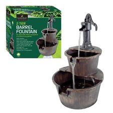 Durable Plastic 2 Tier Barrel Water Fountain With Pump Indoor Outdoor Bronze