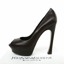YVES SAINT LAURENT $750 brown platform heels Palais 105 pump YSL shoes 39.5 NEW