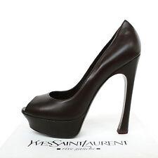 YVES SAINT LAURENT $750 brown platform heels Palais 105 pump YSL shoes 40.5 NEW