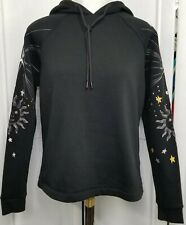 Carbon38 NWOT Women's Black Hoodie Sweatshirt XS Embroidered Sun Stars Long Slv