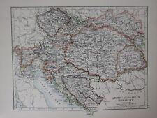 1897 Viktorianisch Landkarte ~ Austro Hungarian Monarchy Bosnien Tyrol Slawonien