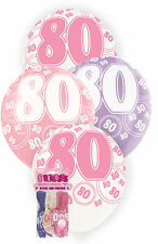 80th BIRTHDAY BALLOONS PK6 PARTY DECORATIONS PINK PURPLE WHITE LATEX BALLOONS