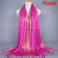Womens Tassel Pashmina Glitter Long Hijab Scarf Shawl Wrap Stole ScarvesEB