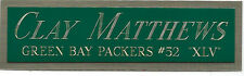 Clay Matthews Packers Nameplate Autographed Signed Football Jersey Photo Helmet