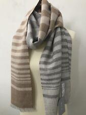 MFH Knits 100% Baby Alpaca Peru Scarf Shawl Brown Gray Stripes