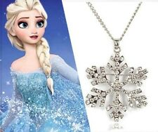Frozen Elsa Rhinestone Snowflake Pendant Necklace Jewelry, Adult and Kids both