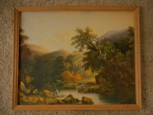 Litho U.S.A. Fishing Scenic Beautiful Vibrant Unknown Art Vintage apx 21x17