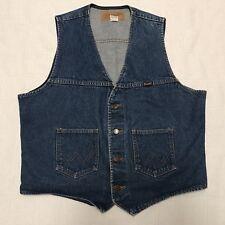 Vintage Wrangler Western Blue Denim Vest Mens Size Large (J10)