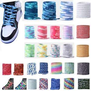 Tie dye Shoelaces Colorful Coloured Flat Round Bootlace Sneaker Shoe Laces AU