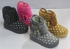 Girl Winter Booties Faux Suede Black Camel Fuchsia Gray (byz-01i)