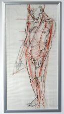 Unikat 'Männlicher Akt', Erich Smodics 1990 in silbernem Alurahmen ca 60x120 cm