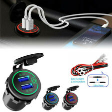 Dual QC 3.0 USB Port Quick Car Charger Socket Outlet for Car Boat W/LED Display