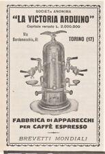 PUBBLICITA 1924 VICTORIA ARDUINO TORINO MACCHINA CAFFE' ESPRESSO BAR BREVETTI