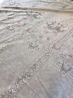 "3 Vintage Lace Cottage Chic Curtain Panels White w/ Pastel Floral Ruffles 60x66"""