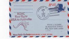 Boac First Flight Usa To Australia New York - Sydney April 1 1967