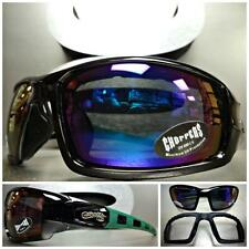 MOTORCYCLE RIDING DRIVING PADDED Choppers SUN GLASSES GOGGLES Black Green Frame