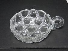 "Ohio Flint Glass Krys-Tol Hexagon Hndl Nappy Bowl Clear Crystal 5 3/8"" L ca1905"