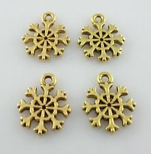 90/500pcs Tibetan Gold/Silver Snowflake Charms Pendants Beads fit Bracelet