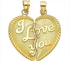 Heart I Love You Pendant 14k Yellow Gold Couple Charm Two Piece 2.3 gr  20x23mm