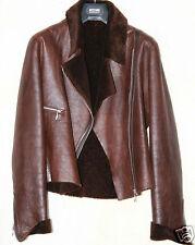 Femmes Femme Motard Aviateur Veste en cuir marron Shearling sheepskin taille S/M