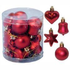 Décoration Sapin De Noël 18 Multi Pack Étoile Cœur Cloche Babioles - Rouge