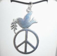 "New  Large  PEACE Sign with Dove  Silver-tone Pendant  18"" -  20"" Black Necklace"