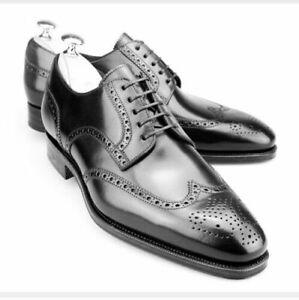 Handmade Men brogue wingtip formal Shoes Men wing tip black leather dress shoes