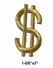 """#3030L 3"""" Gold Dollar Sign $ Embroidery Iron On Appliqué Patch"""