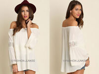 OFF WHITE BELL SLEEVE TOP OFF the Shoulder Peasant Boho Lace PLUS SIZE XL 1X 2X