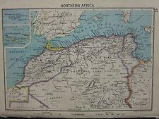 1942 MAP ~ NORTHERN AFRICA MOROCCO ALGERIA CANARY ISLANDS MADEIRA