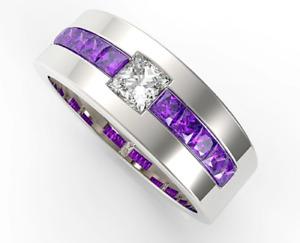 925 Sterling Silver Natural Gemstone Amethyst & White Topaz Men's Ring Us 7 8