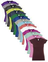 Femmes Uni Coton Manches Courtes Col En V Cou T-shirt Col V Haut T-Shirt