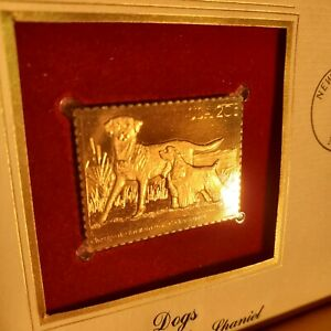 1984 FDC W/ 22KT GOLD REPLICA STAMP-4 COVERS DOGS