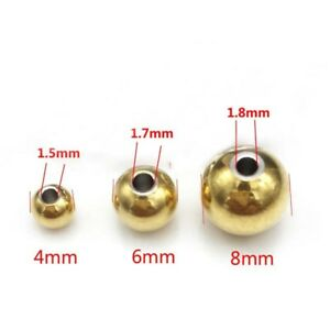 50PCS/LOT GOLD COLOR STAINLESS STEEL SPACER BEADS JEWELRY FINDINGS 4MM/6MM/8MM