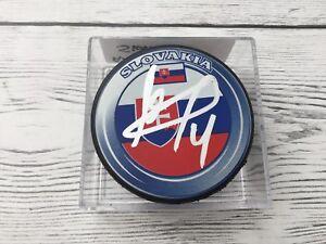 Andrej Sekera Signed Team Slovakia Hockey Puck Autographed b