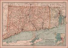 CONNECTICUT & RHODE ISLAND, antique MAP, original 1902