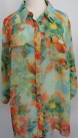 Lane Bryant Green Floral Top Womens Size 18 20  Long Sleeve Sheer Orange Yellow
