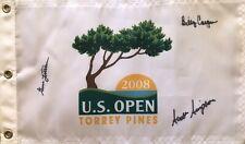 Billy Casper Gene Littler Scott Simpson autograph signed 2008 US Open golf flag