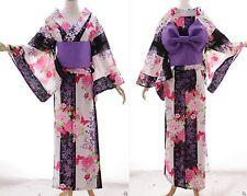 k-76 Púrpura Blanco Lirio Floral Original Japón algodón kimono yukata OBI