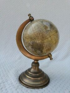 SMALL VINTAGE BRASS DESK TOP GLOBE BY LEGEND