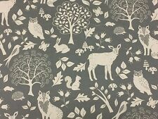Woodland Grey Fabric Remnant 100% Cotton 50cm x 40cm