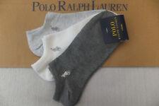Ralph lauren Genuine Ladies Grey Multi 3 Pak Ped Trainer Ankle Socks BNWT