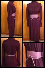 1960s WIGGLE DRESS MOD Belt Purple Pencil RINA Fitted Long Sleeves VINTAGE Sz 8