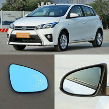 Rearview Mirror Blue Glasses LED Turn Signal with Power Heating For Toyota Yaris