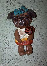 Folk Art Whimsical Pug Halloween Candy Corn Ornament Ooak Art Doll