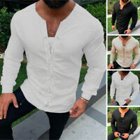 Retro Men's Linen Long Sleeve Shirt Casual Slim Fit Collarless Retro Blouse Tops