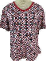 Kim Rogers knit top size XL short sleeve red white blue V neck floral womens