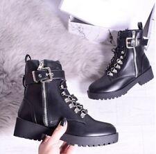 Womens Ladies Flat Biker Ankle Boot Black Zip Silver Studded Buckle Shoe Size